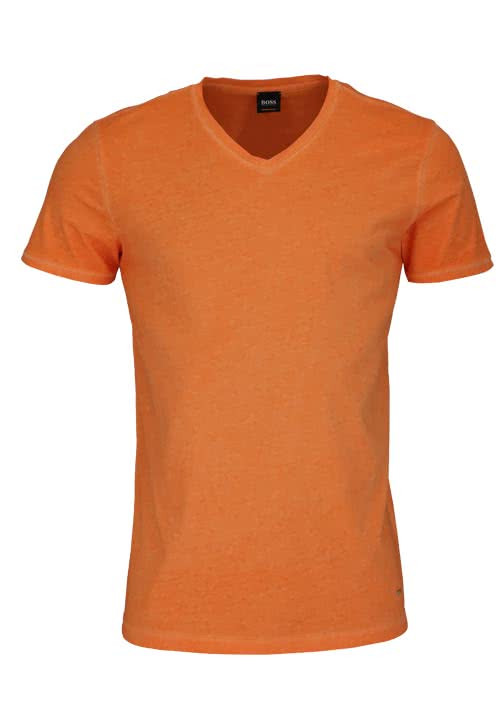 BOSS CASUAL Kurzarm T-Shirt TRACE V-Ausschnitt orange
