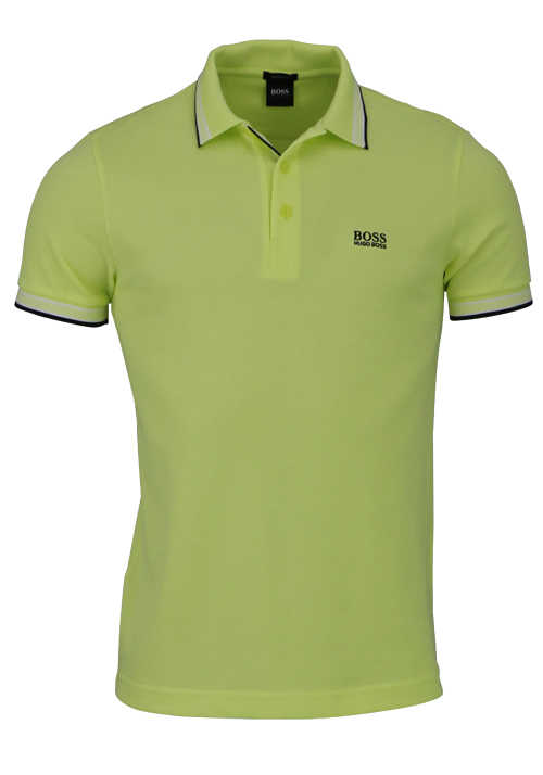 BOSS Halbarm Poloshirt PADDY Polokragen Regular Fit limone