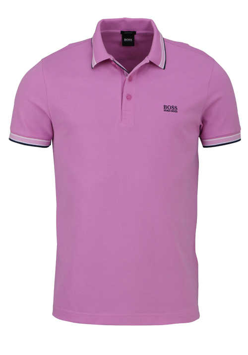 BOSS Halbarm Poloshirt PADDY Polokragen Regular Fit rosa