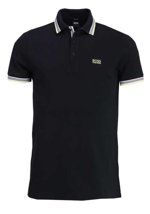 BOSS Halbarm Poloshirt PADDY Polokragen Regular Fit schwarz