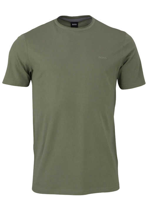 BOSS Halbarm T-Shirt TRUST Rundhals Regular Fit oliv