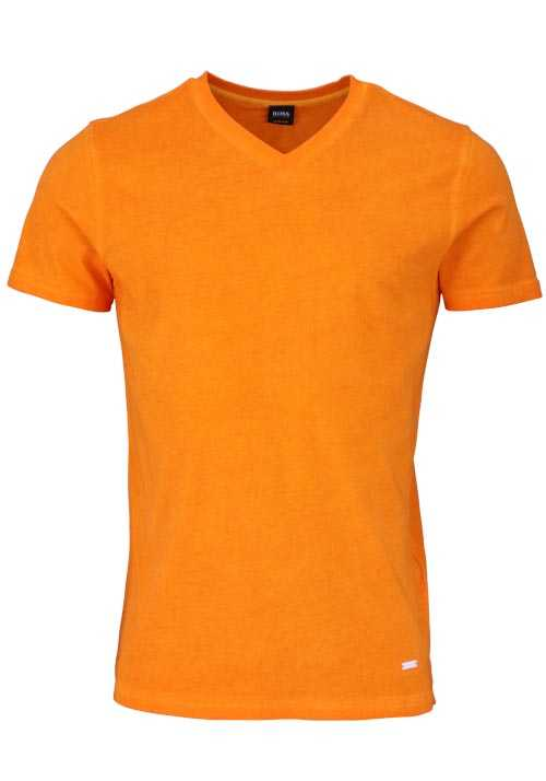 BOSS Halbarm T-Shirt TYXX V-Ausschnitt Used Stretch orange