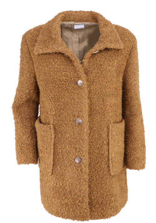 BOSS Langarm Mantel OCHILLY Stehkragen Teddy-Fell camel