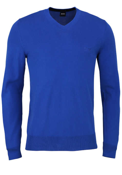 BOSS Langarm Pullover PACELLO-L Rundhals Strick royal blau