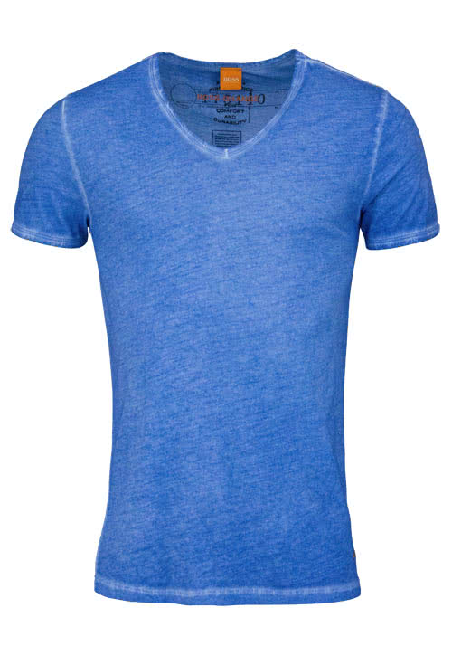 BOSS ORANGE Kurzarm T-Shirt TOULOUSE V-Ausschnitt mittelblau