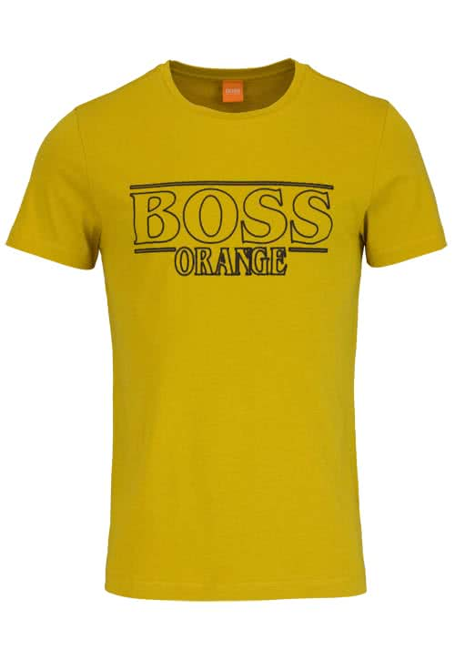 BOSS ORANGE Kurzarm T-Shirt TYPICAL Rundhals Schrift-Print gelb