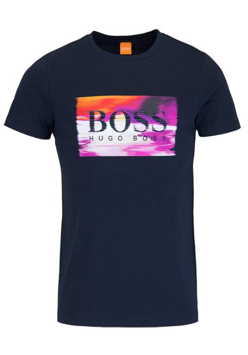 BOSS ORANGE Kurzarm T-Shirt TYPICAL2 Rundhals Schrift-Print nachtblau