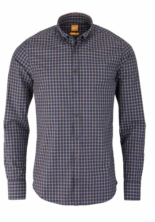 BOSS ORANGE Slim Fit Hemd EPREPPY Langarm Karo dunkelblau/weinrot/grün
