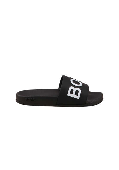 BOSS Pool-Slides BAY_SLID Logo-Detail breiter Riemen schwarz