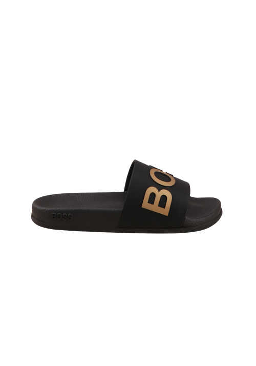 BOSS Pool-Slides BAY_SLID Logo-Detail gold breiter Riemen schwarz