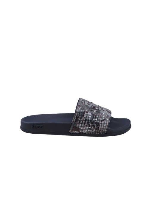 BOSS Pool-Slides BAY_SLID Logo Fußbett Muster blau