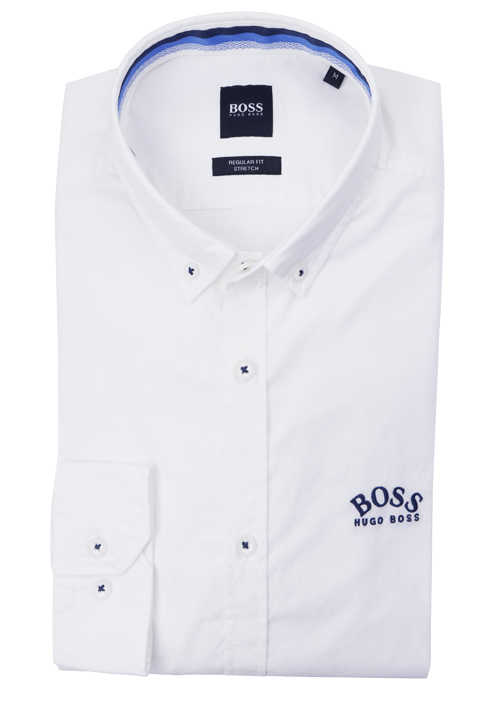 BOSS Regular Fit Hemd BIADO_R Langarm Button Down Kragen Stretch weiß