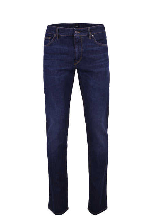 BOSS Regular Fit Jeans MAINE3 Used 5 Pocket Ziernähte rauchblau