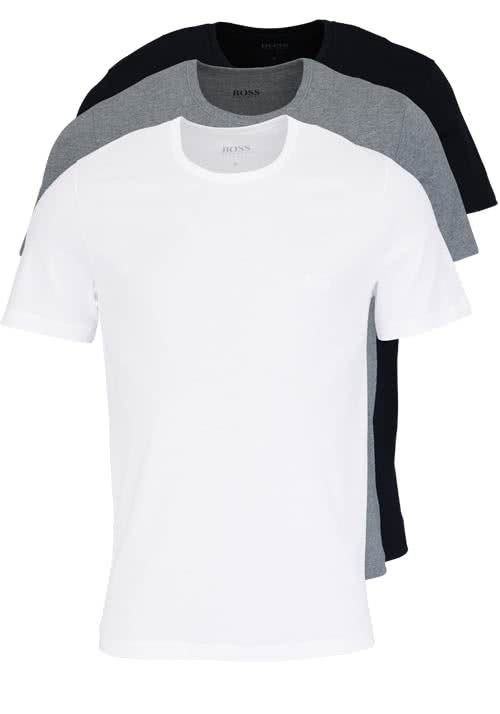 BOSS Regular Fit Kurzarm T-Shirt 3er Pack weiß/grau/schwarz