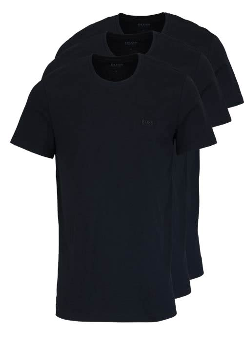 BOSS Regular Fit Kurzarm T-Shirt Rundhals 3er Pack schwarz