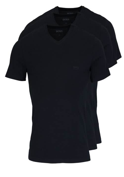 BOSS Regular Fit Kurzarm T-Shirt V-Ausschnitt 3er Pack schwarz