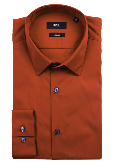 BOSS Slim Fit Hemd ISKO extra langer Arm geknöpft Baumwolle orange