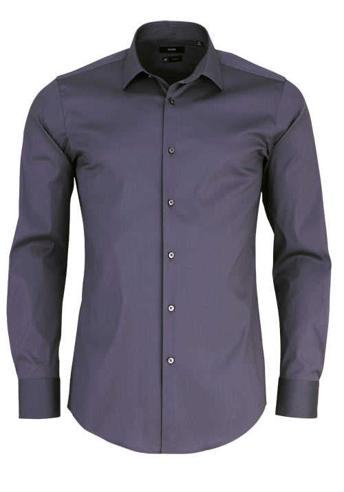 BOSS Slim Fit Hemd JENNO Langarm New Kent Kragen anthrazit