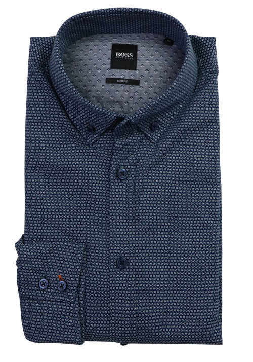BOSS Slim Fit Hemd MABSOOT_1 Langarm Button Down Kragen Muster blau