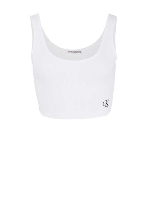 CALVIN KLEIN JEANS Cropped-Top Ripp-Strick Label-Stick weiß