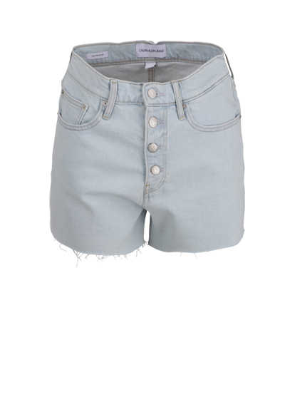 CALVIN KLEIN JEANS Shorts 5-Pocket High-Waist Button-Verschluss hellblau