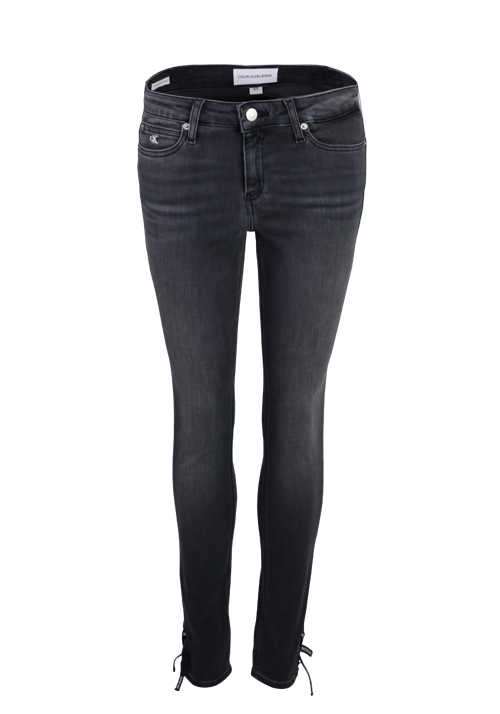 CALVIN KLEIN JEANS Super Skinny Jeans 5 Pocket Used Bindedetail grau