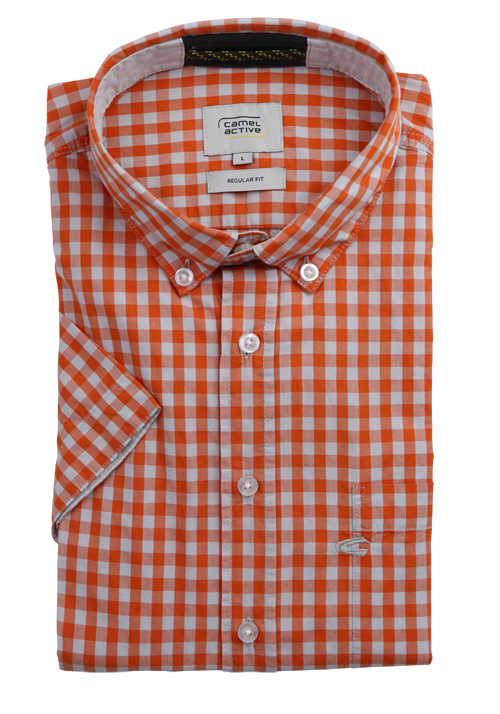 CAMEL ACTIVE Regular Fit Hemd Halbarm Button Down Kragen Karo orange