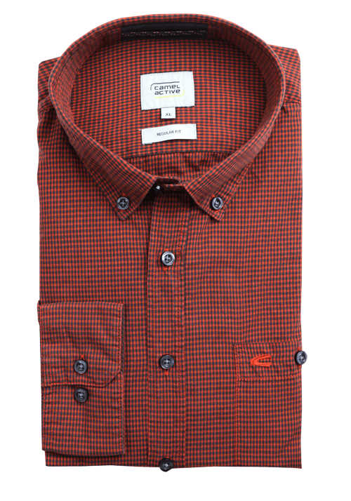 CAMEL ACTIVE Regular Fit Hemd Langarm Button Down Kragen Karo orange