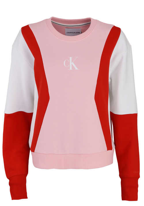 CALVIN KLEIN JEANS Langarm T-Shirt Rundhals Multicolor Muster rot