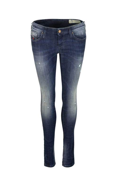 DIESEL Skinny Jeans SKINZEE Waschung used destroy Stretch dunkelblau