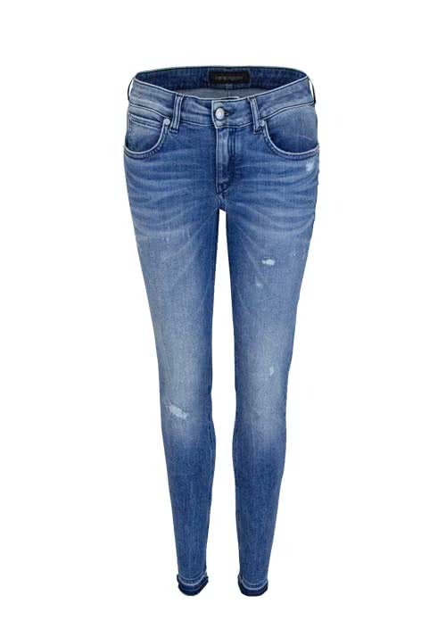 DRYKORN Skinny Fit Jeans PAY Cropped Used mittelblau