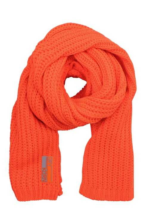 DRYKORN Schal POOCH Strick Material-Mix Applikation orange