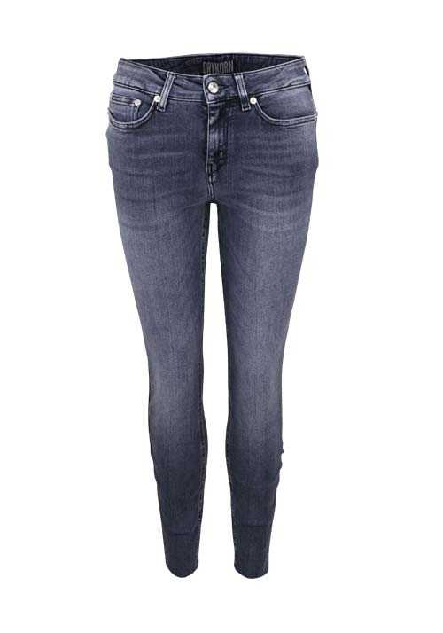 DRYKORN Skinny Jeans NEED Used Fransen Cut Out mittelgrau