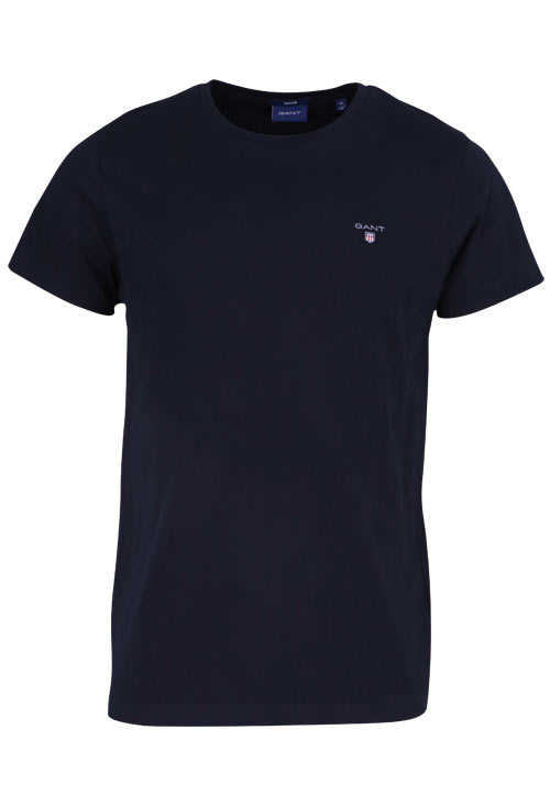 GANT Halbarm T-Shirt Regular Fit Baumwolle Logo-Stick schwarz