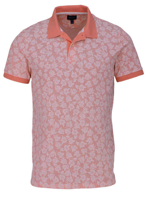 GANT Poloshirt Regular Fit Polokragen Allover Druck Blumen orange