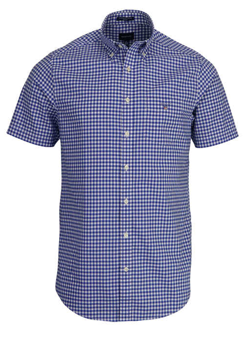 GANT Regular Fit Hemd Halbarm Button Down Kragen Karo blau