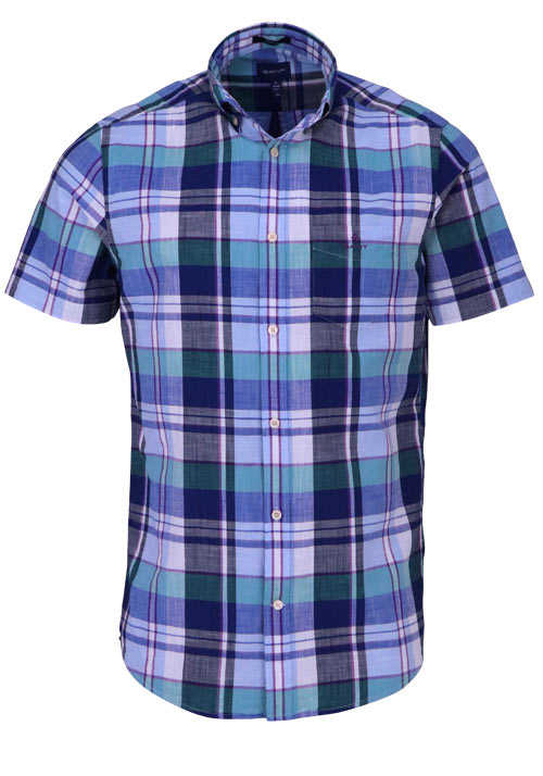 GANT Regular Fit Hemd Halbarm Button Down Kragen Karo dunkelblau