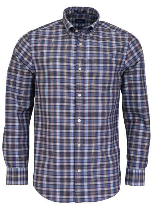 GANT Regular Fit Hemd Langarm Button Down Kragen Karo blau