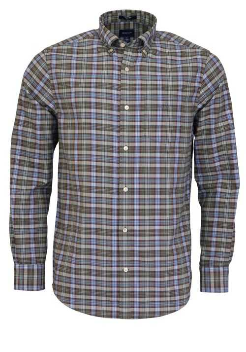GANT Regular Fit Hemd Langarm Button Down Kragen Karo grün