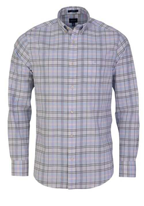 GANT Regular Fit Hemd Langarm Button Down Kragen Karo rosa