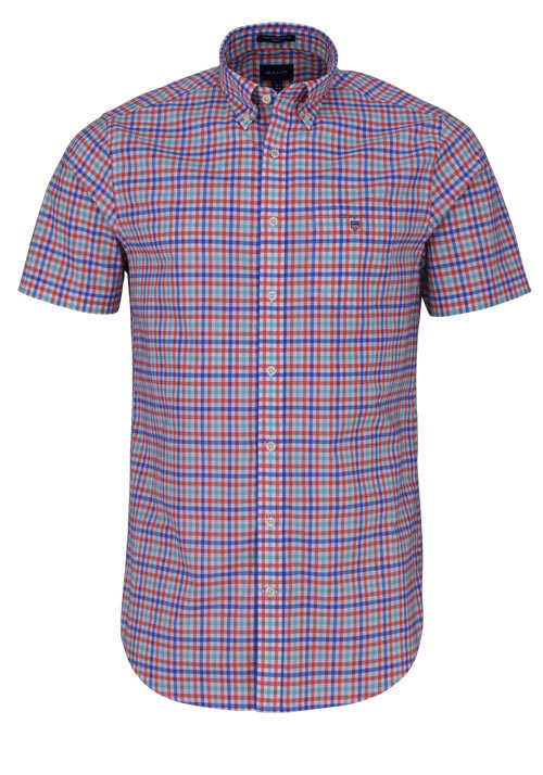 GANT Regular Hemd Halbarm Button Down Kragen Karo blau