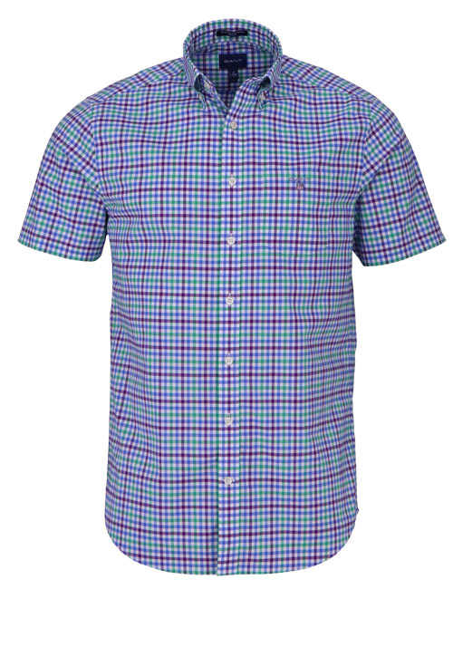 GANT Regular Hemd Halbarm Button Down Kragen Karo dunkelblau