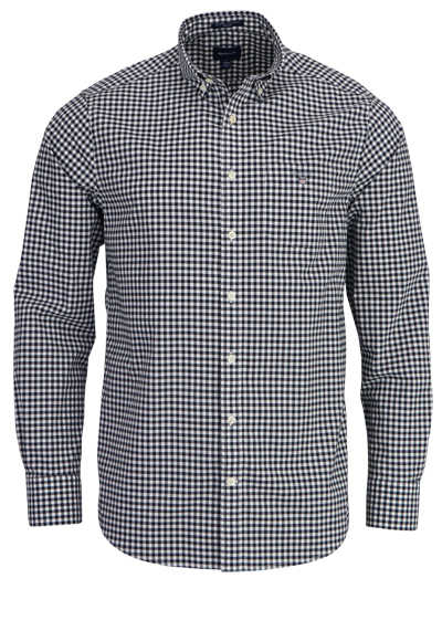 GANT Regulat Fit Hemd Langarm Button Down Kragen Karo dunkelblau
