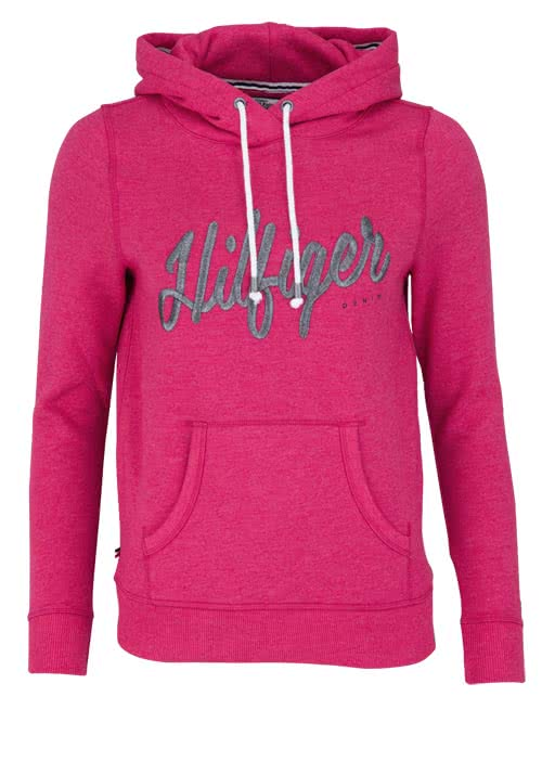 HILFIGER DENIM Langarm Sweatshirt Kapuze Label-Stickerei Uni pink