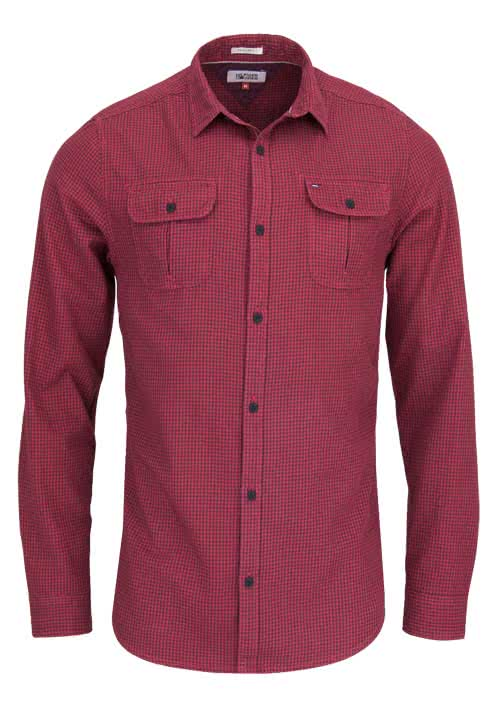 HILFIGER DENIM Regular Fit Hemd GINGHAM Karo rot/anthrazit