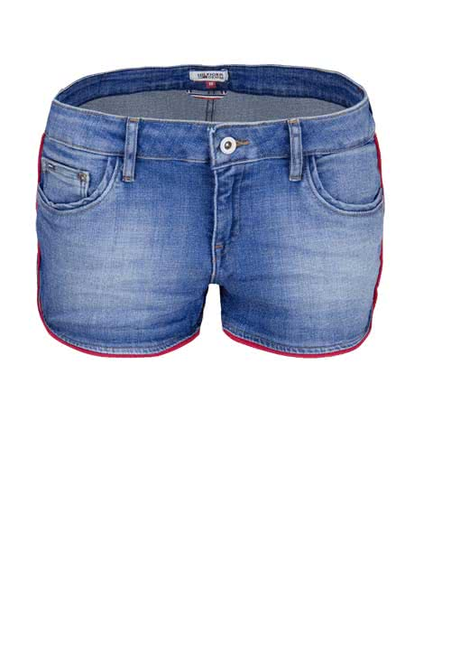 HILFIGER DENIM Short Zierband Stretch Used mittelblau