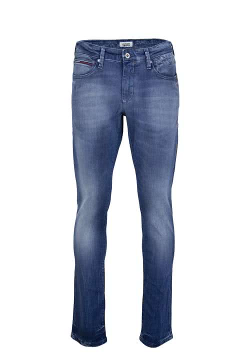 HILFIGER DENIM Slim Fit Jeans SCANTON Logo Stretch used mittelblau