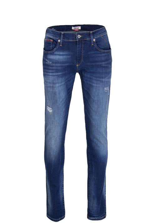 HILFIGER DENIM Slim Jeans SCANTON Stretch Destroy Used dunkelblau