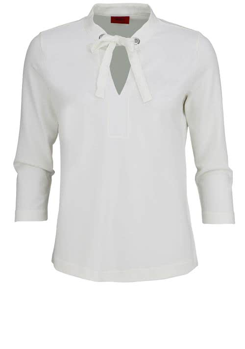 HUGO BOSS 3/4 Arm Blusenshirt DEYLIE Stehkragen Loose Fit ecru