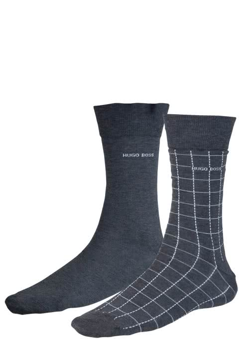 HUGO BOSS Herrensocken TWOPACK RS DESIGN Doppelpack Uni/Karo grau